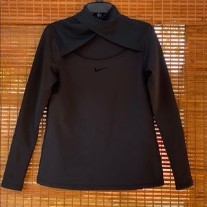 Nike mock neck open chest thermal knit top size L